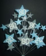 Star age 80th birthday cake topper decoration in pale blue and silver - free postage